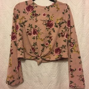 Bell sleeve floral crop sweater